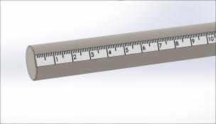 Rod w/Scale (mm), Stainless Steel, 1/2